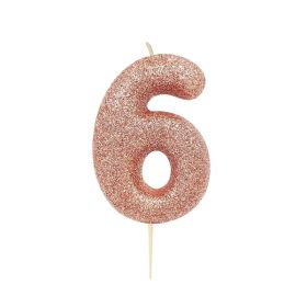 Rose Gold Glitter Number 6 Moulded Pick Candle