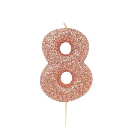 Rose Gold Glitter Number 8 Moulded Pick Candle