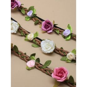 Bandeaux/fabric roses browband bandeaux on plaited cord