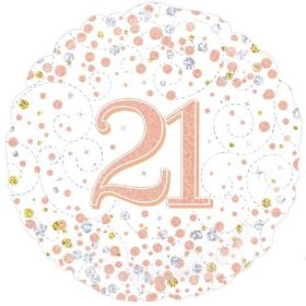 Rose Gold Sparkling Dots 21st Birthday Foil Balloon