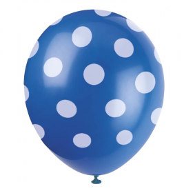 Royal Blue Polka Dot Latex Balloons 12""