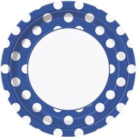 Royal Blue Polka Dot Dinner Plates