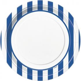 Royal Blue Striped Plates