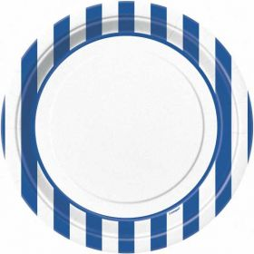 "Royal Blue Stripe 9"" Paper Plates, 8 Pk"