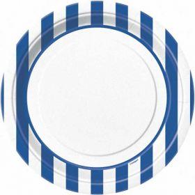 """Royal Blue Stripe 9"""" Paper Plates, 8 Pk"""