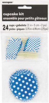 24pc Royal Blue Polka Dot Party Cupcake Kit
