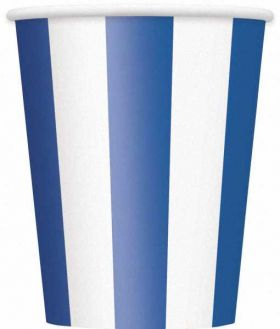 Royal Blue Stripe 12oz Paper Cups, 6 pk