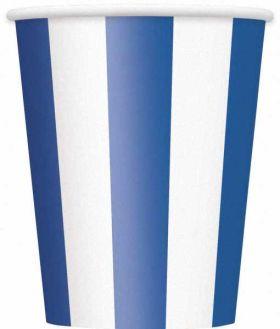 Royal Blue Stripe 12oz Paper Cups, 6 pk