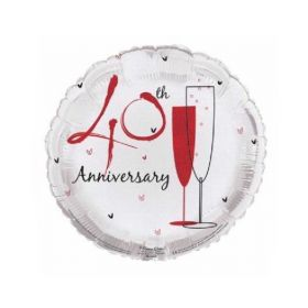Ruby 40th Anniversary Foil Balloon 18''