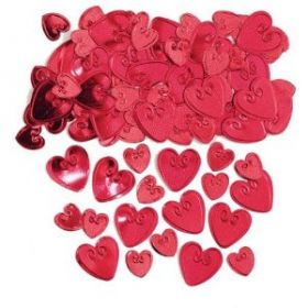 Ruby Loving Hearts Embossed Confetti