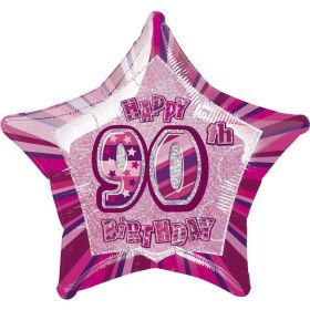 Pink Glitz Star 90 Foil Party Balloon 20''
