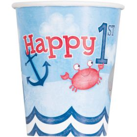 Nautical 1st Birthday Cups, pk8