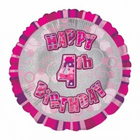 Pink Age 4 Prismatic Foil Balloon
