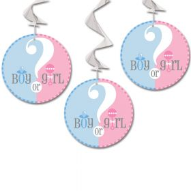 Gender Reveal Hanging Swirl Decoration 26''