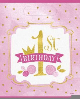 Pink and Gold 1st Birthday Party Bags pk8