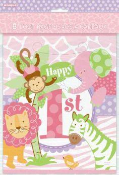 1st Birthday Pink Safari Party Loot Bags pk8