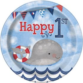 Nautical 1st birthday plates, pk8, 7''