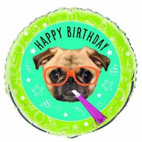 Pug Puppy Birthday Foil Balloon