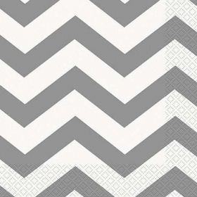 Silver Chevron Lunch Napkins pk16