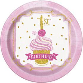 Pink & Gold 1st birthday plates 7'' pk8