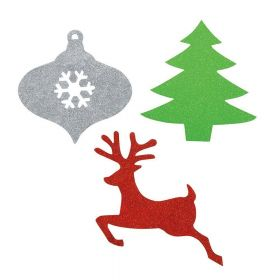 Christmas assorted mini glitter cutouts pk6