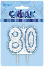 Blue Glitz Candle Age 80