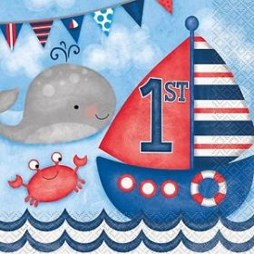 Nautical 1st Birthday Lunch Napkins pk16