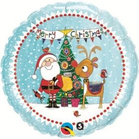 "Santa & Rudolph Foil Balloon 18"""