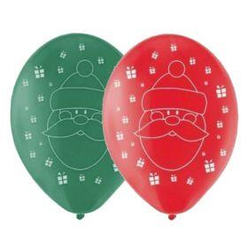 "Santa Pearlised Latex Balloons 11"", pk6"