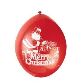 "Santa Merry Christmas Latex Balloons 9"", pk10"