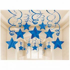 Shooting Stars Blue Swirl Party Decoration Pack ( 30 Swirls )
