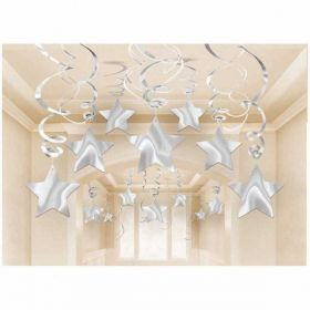 Shooting Stars Silver Swirl Party Decoration Pack (30 Swirls)