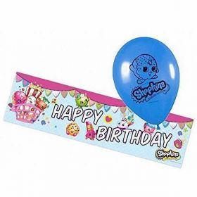 Shopkins Foil Banner and 5 Balloons pack