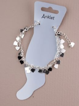 Silver Effect Anklet with Cascading Hearts
