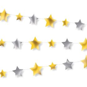 Silver & Gold Star Garland 9ft