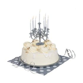 Silver Candelabra Cake Topper & Birthday Candle Set
