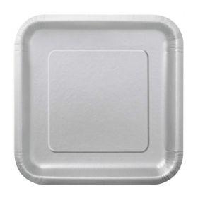 Silver Square Dessert Plates 17cm, pk16