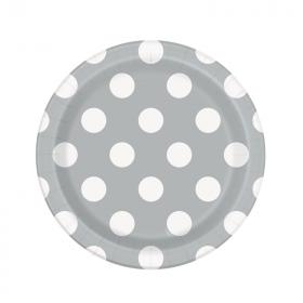 Silver Polka Dot Paper Plates 23cm, pk8