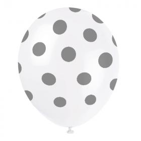 """Silver Polka Dot Latex Balloons 12"""", pk6"""