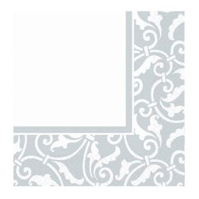 Silver Ornamental Scroll Napkins 33cm x 33cm, pk16