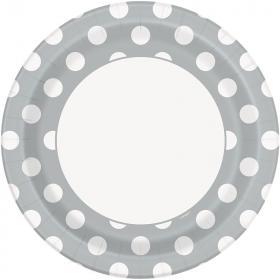 Silver Polka Polka Dot Paper Plates 23cm, pk8