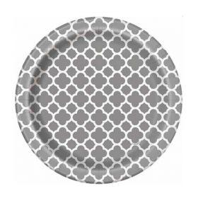 Silver Quatrefoil Plates 18cm, pk8