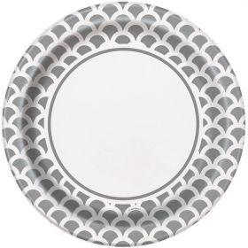 Silver Scallops Plates 23cm, pk8