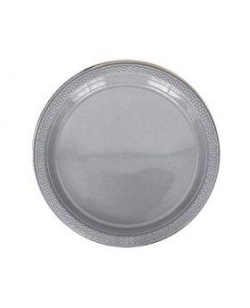 Silver Sparkle Plastic Plates 17.7cm 20pk