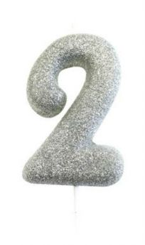 Number 2 Glitter Numeral Silver Moulded Candle