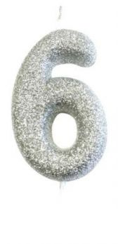 Number 6 Glitter Numeral Silver Moulded Candle