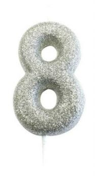 Number 8 Glitter Numeral Silver Moulded Candle