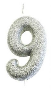 Number 9 Glitter Numeral Silver Moulded Candle