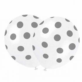 Silver Polka Balloons pk6