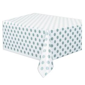 Silver Polka Plastic Tablecover 1.37m x 2.13m